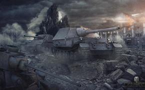 Обои wot, т-34, фердинанд, война, дома, jg panther II, танки, танк, ferdinand, panther, world of tanks