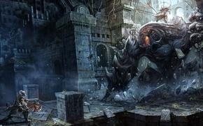 Картинка оружие, монстры, рисунки, воины, blizzard, diablo, rpg, варвар, dark fantasy, chaoyuan xu