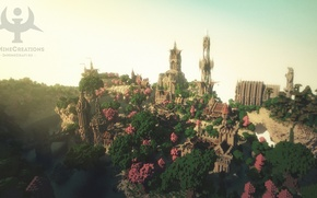 Картинка лес, небо, мост, город, река, башня, fantasy, Minecraft, medieval, buildpack