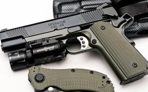 Картинка пистолет, нож, фонарь, кобура, 1911, Springfield, 45 ACP, TRP, surefire, Operator, Tactical Response Pistol