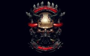 Обои стиль, музыка, череп, механизм, трубки, infernal, hardtechno