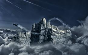 Обои гора, проём, арт, самолет, дыра, истребитель, скала, полет, облака