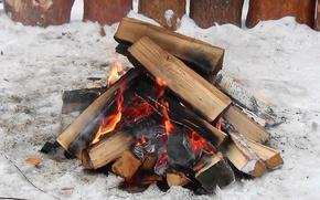 Картинка зима, огонь, костёр, Дрова