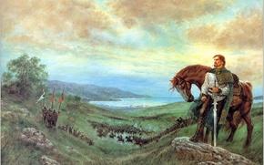 Обои битва, The Last Prince of Ireland, сеча, картина, конь, Luis Roy, воин