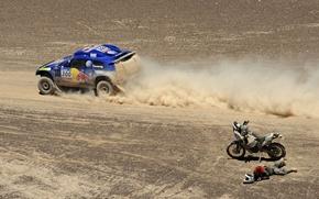 Картинка авто, фото, обои, гонка, спорт, пустыня, volkswagen, тачки, мотоцикл, мотоциклист, cars, auto, wallpapers, фольксваген, дакар, …