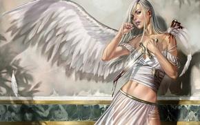 Обои девушка, кровь, крылья, ангел, нож