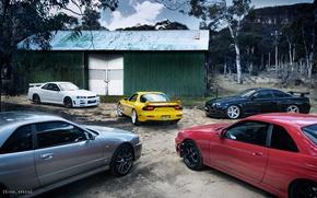 Картинка Мазда, Ниссан, Mazda, RX-7, R34, GT-R V.spec N1, GTt, GT-R V.spec II