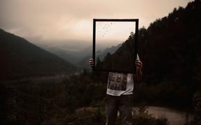 Картинка природа, зеркало, парень