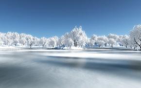 Картинка зима, лес, снег, река
