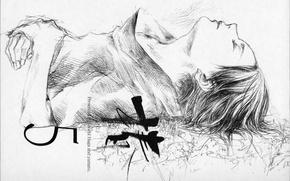 Картинка рисунок, голова, иероглиф, Naruto, закрытые глаза, Sasuke Uchiha, Naruto Shippuden, лежит на спине, by Yatai …