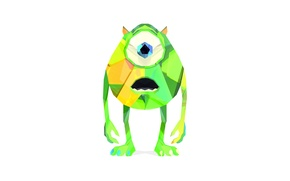 Картинка зеленый, мультфильм, минимализм, майк, корпорация монстров