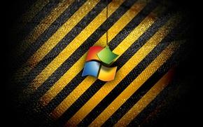 Картинка компьютер, полосы, цвет, логотип, ткань, эмблема, windows, объем, операционная система
