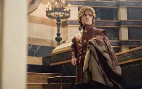 Обои взгляд, шрам, Tyrion Lannister, мантия, игра престолов, Peter Dinklage, бес, game of thrones, лорд, halfman, ...