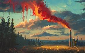 Картинка лес, небо, трава, облака, деревья, дым, арт, труба