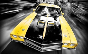 Обои Желтый, Машина, Скорость