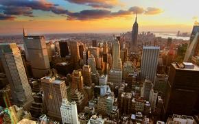 Картинка облака, закат, город, здания, new york city
