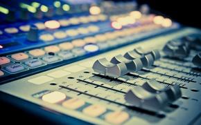 Картинка свет, музыка, music, размытость, звук, пульт, усилитель, микшер, hi-tech, музыкальный, боке, студия, wallpaper., technology, профессиональный, …