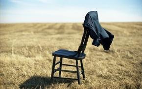 Обои 153, поле, стул, куртка