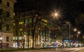 Картинка ночь, огни, улица, Австрия, Вена, Vienna