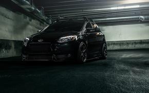 Картинка Ford, Car, Focus, Black, Parking, Tuned