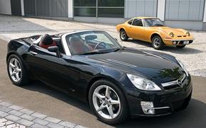 Картинка дорога, авто, улица, Город, мостовая, Opel GT 2007, Opel GT ретро.