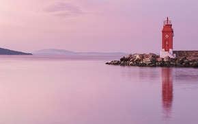 Картинка sea, morning, sunrise, dawn, lighthouse, Croatia, Adriatic Sea, Krk