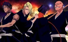 Картинка sword, game, star, Bleach, soldiers, sky, anime, night, katana, man, tatoo, asian, manga, japanese, oriental, …