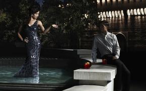 Обои женщина, фонтан, мужчина