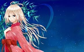 Обои небо, девушка, звезды, аниме, арт, кимоно, vocaloid, natuiro