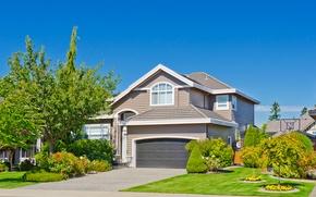 Картинка лето, небо, трава, солнце, деревья, цветы, дизайн, дом, газон, голубое, особняк, кусты