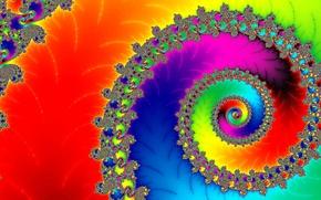 Обои свет, цвет, спираль, узор, радуга
