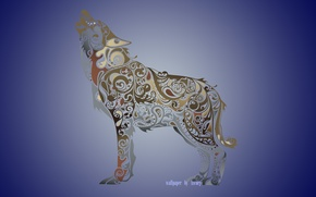 Картинка абстракция, животное, волк, wolf