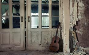 Картинка музыка, гитара, дверь