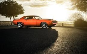 Картинка Chevrolet, 1969, Camaro, Orange, Front, Sun, Color, Wheels, Savini