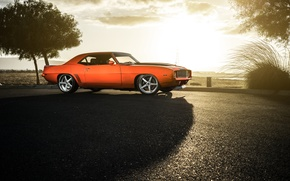 Обои chevrolet, camaro, ss, 1969, savini, wheels, orange, color, sun, front