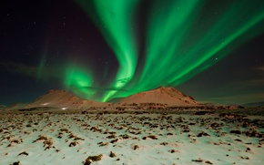 Обои небо, горы, ночь, северное сияние