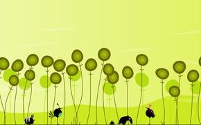 Картинка птички, цветочки, ёжик, зеленые обои, букашки