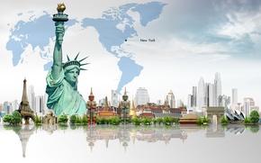 Картинка деревья, эйфелева башня, здания, карта, статуя свободы, небоскрёбы