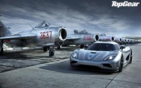 Обои небо, фары, Koenigsegg, истребители, суперкар, top gear, передок, самолёты, Agera, высшая передача, топ гир, гиперкар, ...