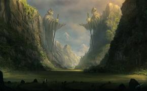 Обои горы, камни, скалы, конь, эльф, арт, всадник, статуя, посох, путник, blinck