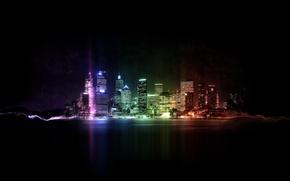 Картинка свет, абстракция, фантастика, цвет, дома
