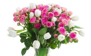 Обои ваза, цветы, букет, розы, тюльпаны