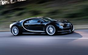 Обои Chiron, скорость, 2016, движение, Bugatti, трасса