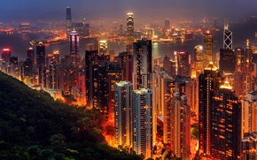 Картинка ночь, город, огни, вечер, Азия, Hong Kong