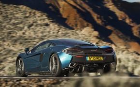 Обои McLaren, скорость, speed, задок, в движении, 570GT, car, авто
