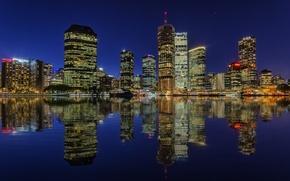 Картинка ночь, огни, отражение, река, небоскребы, подсветка, Австралия, мегаполис, Брисбен