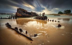 Картинка Франция, корабль, останки, затонувший, река Этель