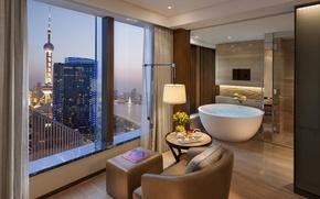 Картинка цветы, дизайн, город, стиль, чай, вид, интерьер, кресло, окно, подушка, Shanghai, ванная, коричневый, столик, пуф, ...