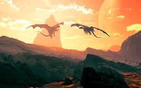 Обои драконы, два, долина, dragon stronghold