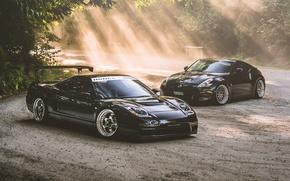 Картинка черный, nissan, wheels, honda, black, japan, хонда, ниссан, jdm, tuning, front, 370z, face, acura, nsx, …
